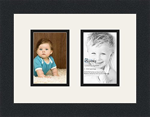 ArtToFrames Double-Multimat-44-61/89-FRBW26079 Collage Photo Frame Double Mat with 2-3.5x5 Openings and Satin Black Frame, Super White, 2-3.5x5 (Christmas Collage Frames)