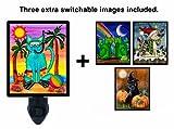 Night Light w/ Switchable Inserts - Seasonal Cats