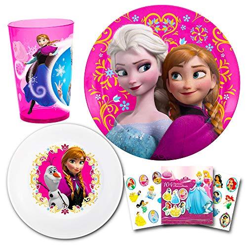 Disney Frozen Toddler Dinnerware Set - Plate, Bowl, Cup, Stickers