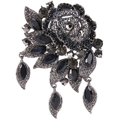 Black Pin Pendant - EVER FAITH Rose Flower Leaf Brooch Pendant Austrian Crystal Black Black-Tone