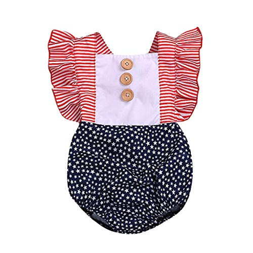 Baby Girl Outfit Romper American Flag Ruffle Backless Bodysuit Jumpsuit for Independence Day White ()