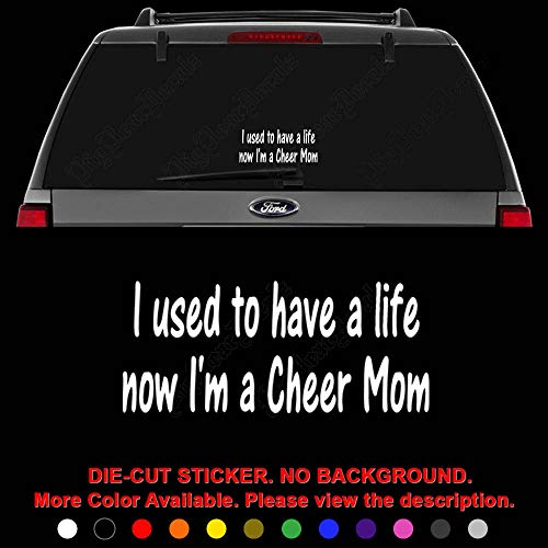 (Cheer Mom Cheerleading Die Cut Vinyl Decal Sticker for Car Truck Motorcycle Vehicle Window Bumper Wall Decor Laptop Helmet Size- [8 inch] / [20 cm] Wide || Color- Gloss Black )
