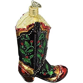 Old World Christmas Holly Berry Cowboy Boot Glass Blown Ornament