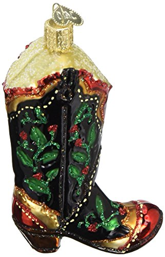 Cowboy Boot Christmas Ornament - Old World Christmas Ornaments: Holly Berry Cowboy Boot Glass Blown Ornaments for Christmas Tree