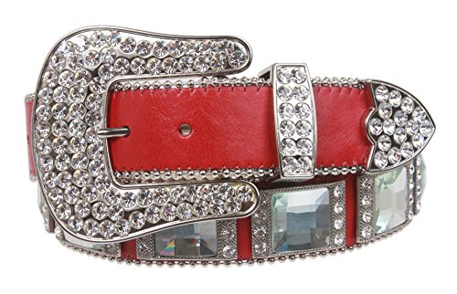 Western Square Rhinestone Ornaments Top Grain Genuine Leather Belt Size: S/M - 31 Color: -