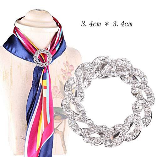 Women Scarf Buckle Ring Clip Holder Crystal Flower Silk Scarves Jewelry Broo Ji (Model - 13-Silver)]()