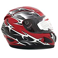 Motorcycle Full Face Helmet DOT Street Legal +2 Visors Comes with Clear Shield and Free Smoked Shield - Spikes RED 118S (X-Large) by MMG