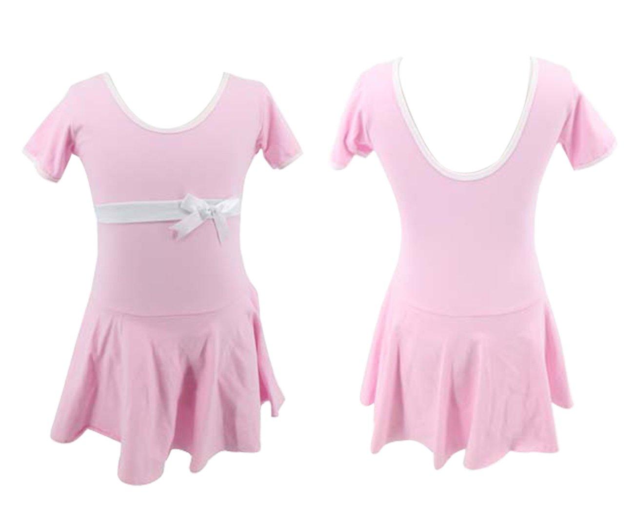 Happy Cherry Girls Short Sleeve Skirted Leotard Dance Ballet Gymnastics Dress