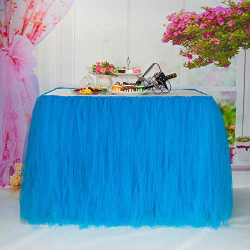 Table Skirt, Romantic Tulle desk gauze, Table Decoration, Snowflake Wonderland Tutu Table Cloth, for Baby Shower, Wedding, Birthday, Party, Bar, Prom, Valentine's Day Christmas (Blue) -