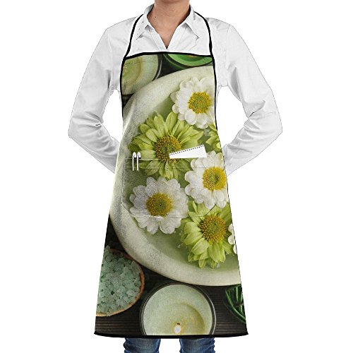 SmallTing Beautiful Composition With Sea Salt In Wooden Spoons And Chef Restaurant Black One Size Apron With Pockets (Colonial Baby Spoon)