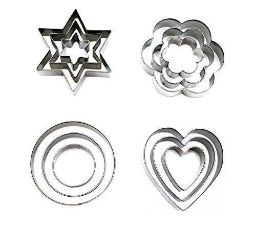 La Viano® Plätzchen-Ausstecher Keks-Ausstecher Ausstechformen Set Stern Herz Blume Kreis Weihnachten 12 Teile 4 Motive