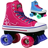 Lenexa Roller Skates for Girls Pixie Kid's Quad Roller Skates with High Top Shoe Style for Indoor/Outdoor Skating | Durable, Easy to Skate, Made for Kids (Pink, J13)