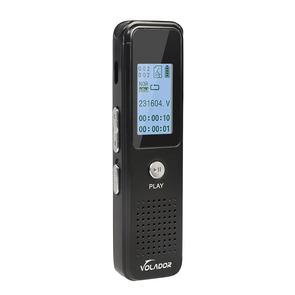 Digital Voice Recorder, VOLADOR Voice Activated Audio Recorder, 8GB Rechargeable MP3 Player, Portable Dictaphone for Interviews Meetings Lectures Class-Black by VOLADOR