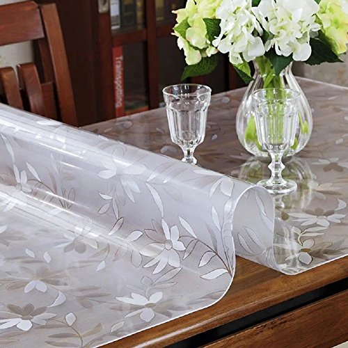 LovePads 1.5mm Thick 36 x 60 Inches Dining Room Table Protector, Rectangular Non-Slip Plastic Table Protective Pads, Kitchen Wood Grain Vinyl Tablecloth Cover, 5ft Long