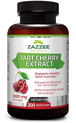 (Tart Cherry Extract | 3000 mg Strength | 200 Veggie Caps | Potent 10:1 Extract | Over 6-Month Supply | Vegetarian/Vegan | Extra Strength Uric Acid Cleanse for Healthy Joints)