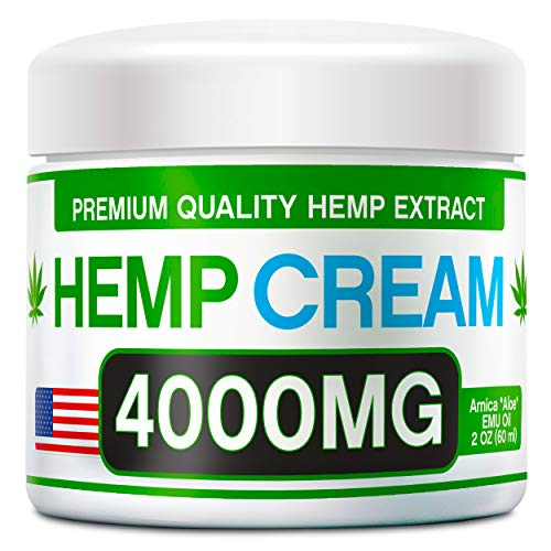 Hemp Pain Relief Cream - 4000 MG - Natural Hemp Extract Relieves Inflammation, Knee, Muscle, Joint & Back Pain - Contains Arnica, MSM & EMU Oil - Non-GMO - Made in USA