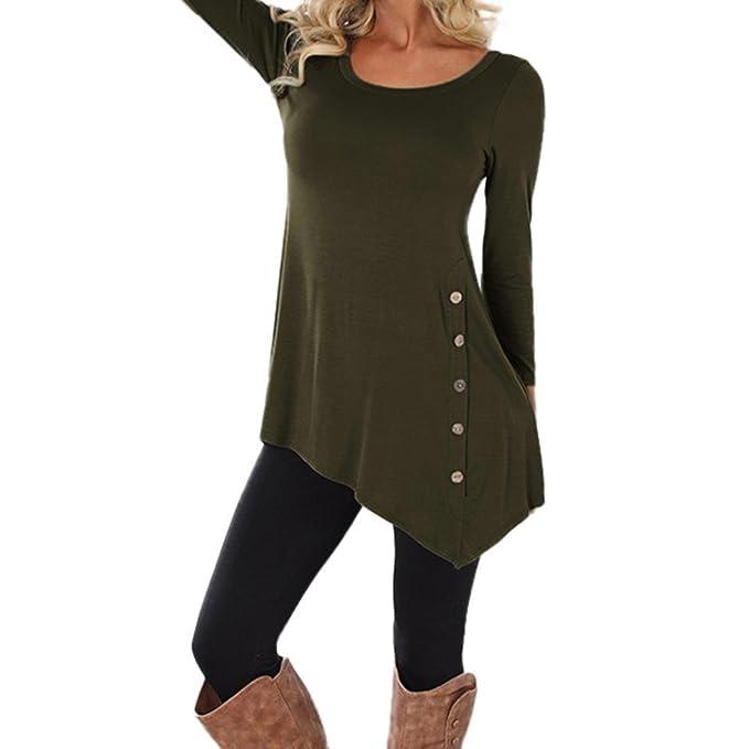 Elogoog Womens Loose Blouse 3/4 Sleeve Irregular Tunic Tops Plus Size  Button Decor