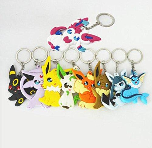 Pokemon Eevee Vaporeon Jolteon Flareon Espeon Umbreon Leafeon Glaceon Sylveon with Keychain PVC Action Figure 9pcs/set Toy Anime Gift