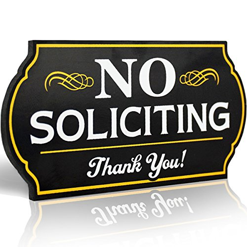 Attractive No Soliciting Metal Sign for Home and Business | 6 Long Laser Cut Shape | Deter Door Knockers and Bell Ringers (Long Lasting Aluminum Composite Material)