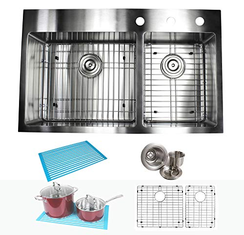 36 Inch Drop In Topmount Stainless Steel Kitchen Sink Package 16 Gauge Double Bowl Basin w/ 9 Gauge Deck Complete Sink Pack with Bonus Accessories ()