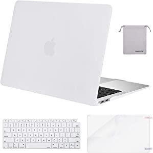 MOSISO MacBook Air 13 inch Case 2020 2019 2018 Release A2179 A1932 with Retina Display, Plastic Hard Shell&Keyboard Cover&Screen Protector&Storage Bag Compatible with MacBook Air 13, White
