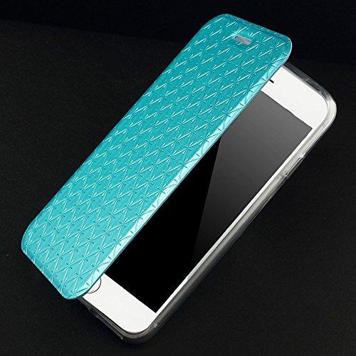 PU cuir Étui Apple iPhone 6/6S carbone Protection complète Bleu decui Bleu Étui de protection en cuir PU