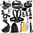 HCE Outdoor Sports Camera Accessories kit for Gopro HERO 4/3 Chest Strap,Headband,Wrist Strap mount,Floating Grip Mount for Hiking Parachuting Swimming Diving Rowing Riding Climbin