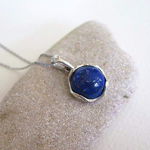 (925 Sterling Silver Lapis Lazuli Necklace - Dainty 12mm Deep Dark Blue Genuine Lapis Lazuli Pendant, Real Natural Gemstone, Delicate Ornamented Handmade Vintage Statement Jewelry for Classy Women)