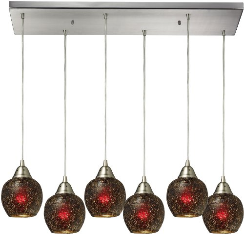 Elk 10208/6RC-WN 30 by 9-Inch Fission 6-Light Pendant with Wine Glass Shade, Satin Nickel Finish