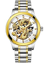 Men Watches Dragon Collection Luxury Carved Crystal Stainless Steel Wrist Watch Dial Automatic Mechanical Bracelet
