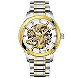 FimKaul Men's Luxury Quartz Watch Dragon Sculpture and Crystal Design Gold Wristwatch Luminous