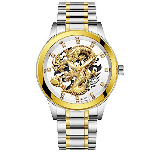 Men's Bussiness Gift Watch Waterproof Gold Dragon Sculpture Pointer Night Light Quartz Watch Luxury Steel Wristwatch (White)