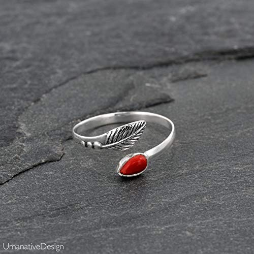 Toe Ring, Sterling Silver Open Adjustable Foot OR Midi Knuckle Ring with Red Coral Gemstone, Unique Bohemian Beach jewelry, Feather Shaped, Handmade Boho Wedding ()