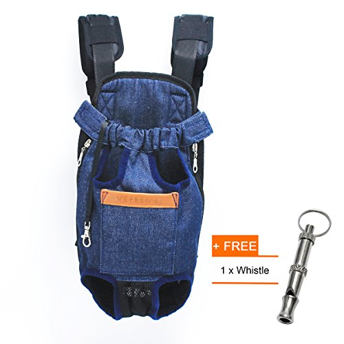 NEFBENLI Denim Blue Front Kangaroo Pouch Dog Carrier,Wide Straps with Shoulder Pads,Adjustable and Legs out Pet Backpack Carrier,For Walking,Travel,Hiking,Camping (Small)