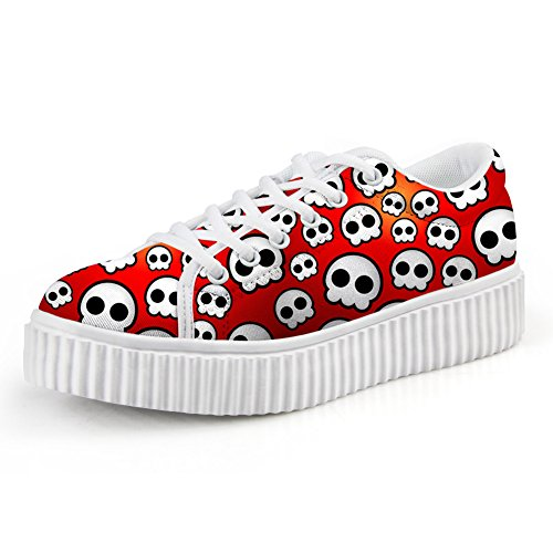 Lace Bigcardesigns Low Skull Sneaker rad Top Skate Womens Platform up Shoe Fashion nqqr4T0wH