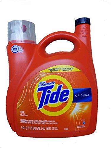 Tide Original 037000777335 High Efficiency Laundry Detergent 150 Oz / 4.43L Mega Value Size -110 Loads (2x Ultra Concentrated) More Power Per Drop