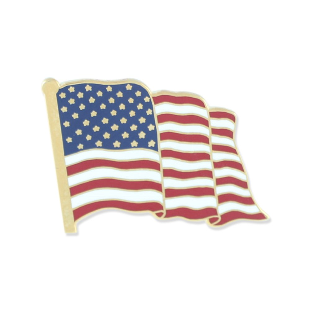 Premium American Flag MADE IN USA Hard Enamel Gold Plated Lapel Pin– 5 Pins