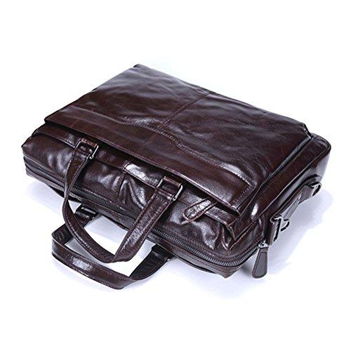 Huile Cire couche de cuir en cuir véritable Porte-documents Messenger Laptop Bag bandoulière de sac à main hommes d'affaires Voyage sac Fit 14 pouces pour ordinateur portable