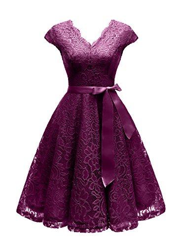 Vinvv Women's Short Vintage Floral Lace Dress V-Neck Cap Sleeve Belt Bridesmaid Party Cocktail Dress Grape L
