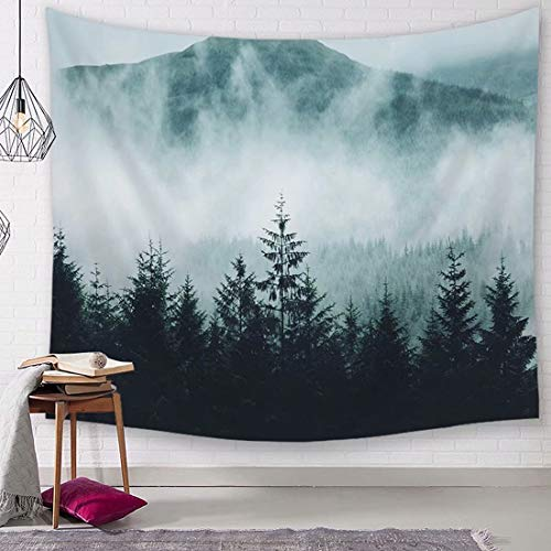 - TSDA Misty Forest Tapestry Magical Fog Mountain Tree Wall Hanging 3D Vertical Natural Landscape Tapestry Woodland Decor Collection