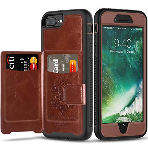 iPhone 8 Plus Case & iPhone 7 Plus Case with Built-in Magnetic Backing,SXTech (Leather Cover Series) Slim Yet Protective with Card Holders.Kickstand Wallet Case Fit for iPhone 6S Plus Case-Brown