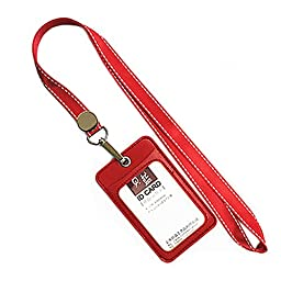Fashion ID Card Holder Credit Card Case With 2 Card Slots, Red