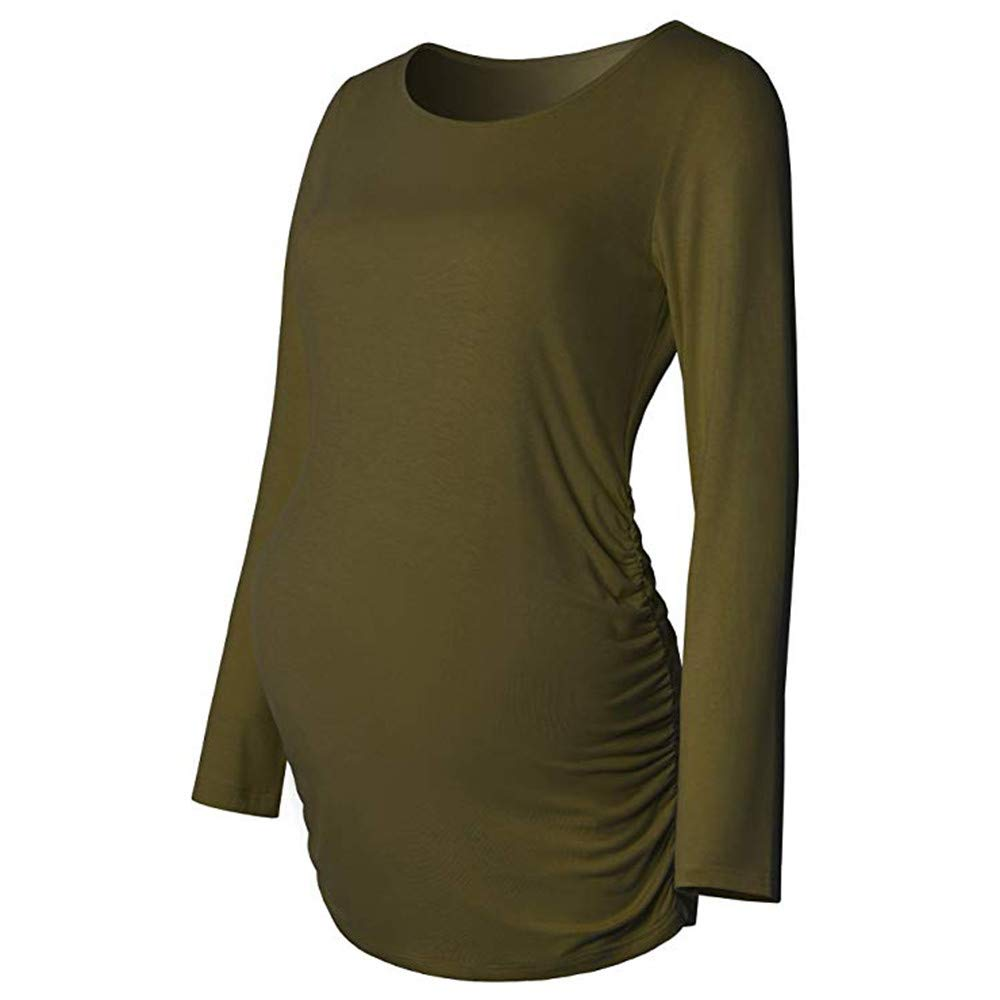 GoodLock Clearance!! Women Maternity Nursing Tops Casual Long Sleeve Basic Tops T Shirt for Pregnant Clothes (Green, X-Large)