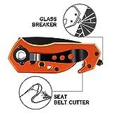 Mini Multifunction Outdoors Fixed Blade Hunting Knife Glass Breaker, Bottle Opener,Seat Belt Cutter for Men/Women/Adult, Orange