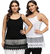Hanna Nikole Women's Plus Size Lace Trimmed Camisole Layering Cami Tank Top Extender