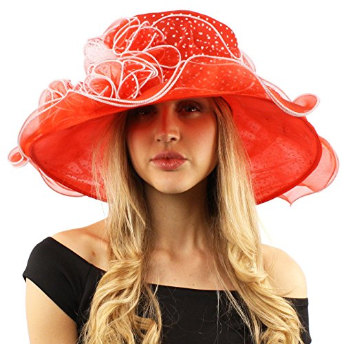 (Fancy Classy Polka Dot Ruffle Kentucky Derby Floppy Ruffle Organza Hat Red)