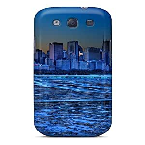 Premium Galaxy S3 Case - Protective Skin - High Quality For Ice Blue Cityscape Of Lakefront Chicago Hdr