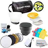 Gary Fong Fashion and Commercial Lighting Flash Modifying Kit With Neewer 110CM 43-Inch 5-in-1 Collapsible Multi-Disc Light Reflector, Silver, Gold,White, Black, & Translucent in Case For CANON 540EX 420EX 550EX 430EX 580EX 580EX II 430EX II 270EX 380EX 320EX 600EX-RT + Vivitar Universal Portable 3-Piece Digital Gray Card Set & 5 Piece Camera Cleaning Kit