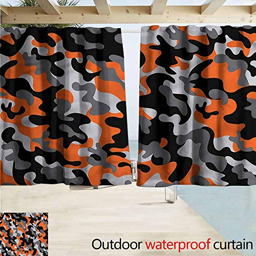 MaryMunger Rod Pocket Top Blackout Curtains/Drapes Camo Artistic Modern Design Simple Stylish Waterproof W55x63L Inches