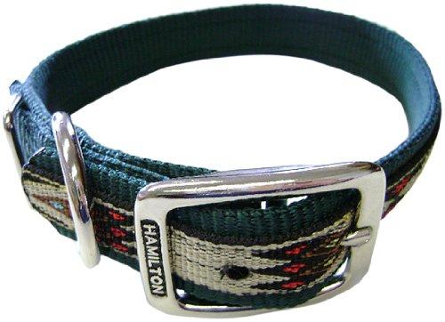 Hamilton 1-Inch Single Thick Nylon Deluxe Dog Collar, 26-Inch, Dark Green with Southwest Overlay